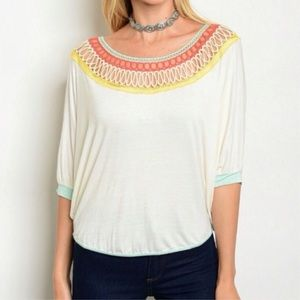 Tops - Crochet Scoop Neck 3/4 Sleeve Tee